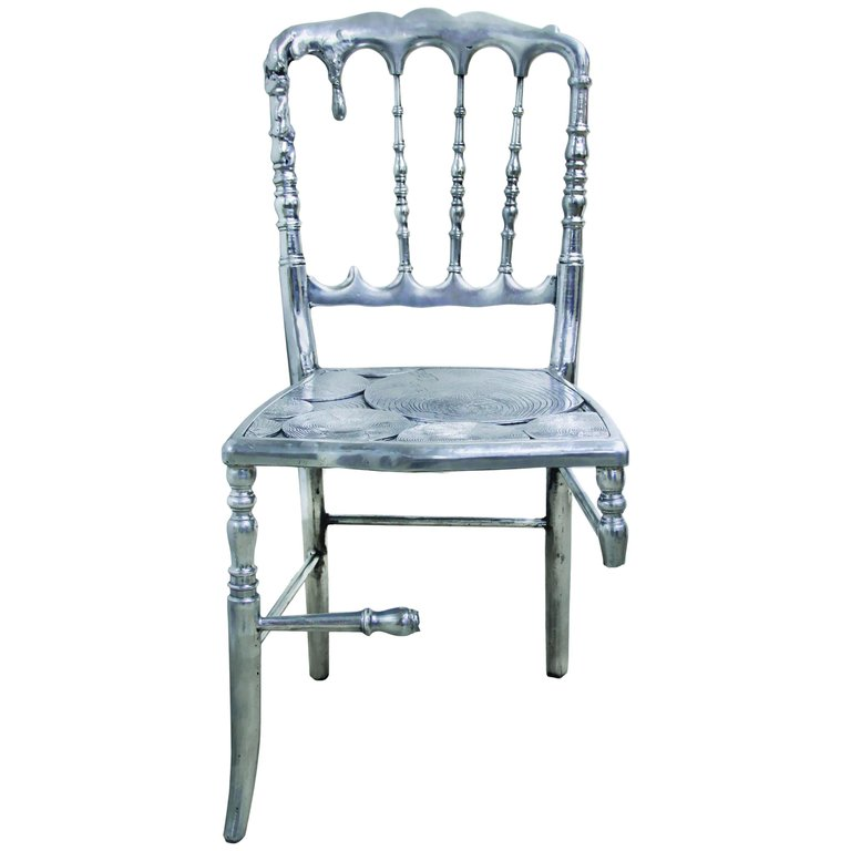 Emporium Dining Chair with Three in Polished Aluminum in ...