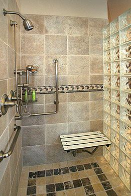 wheel chair accessible shower handicap accessible shower design by fiato associates - Wheelchair Accessible Bathroom Design