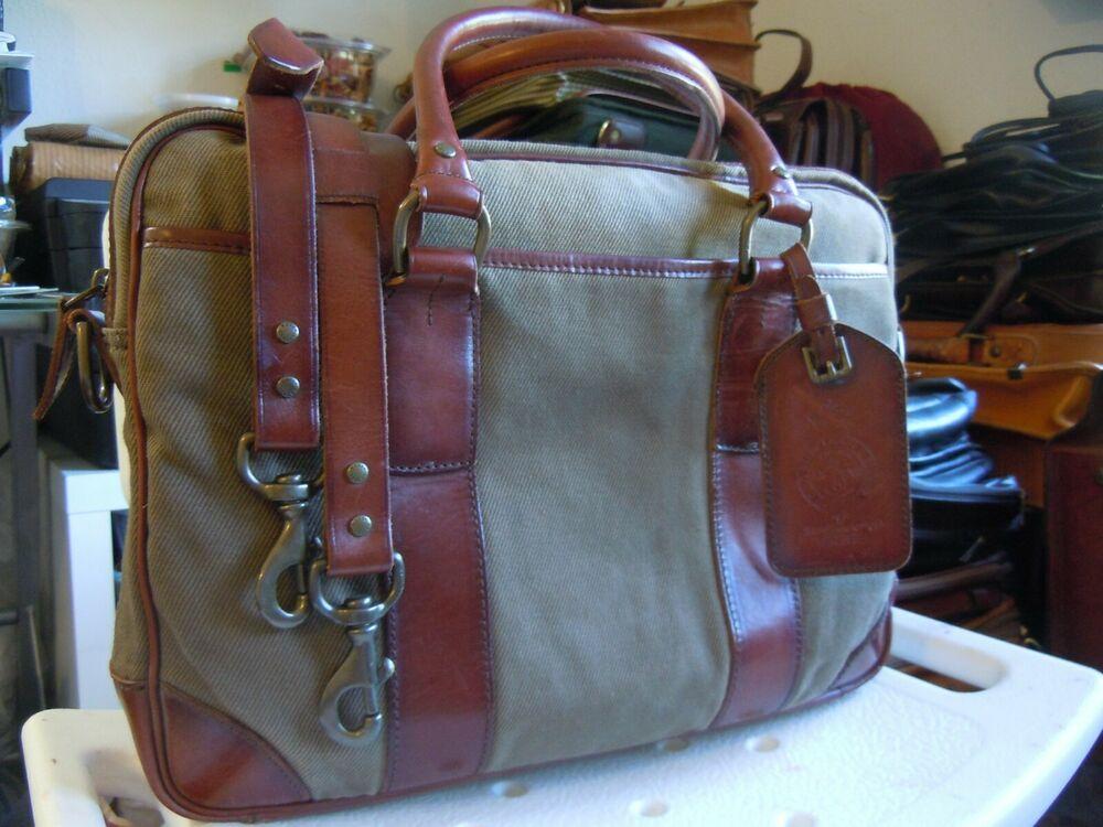 Vintage Polo Ralph Lauren Commuter Gentleman S Briefcase Bag Canvas Leather Poloralphlauren Briefcaseattache In 2020 Vintage Polo Bags Canvas Leather