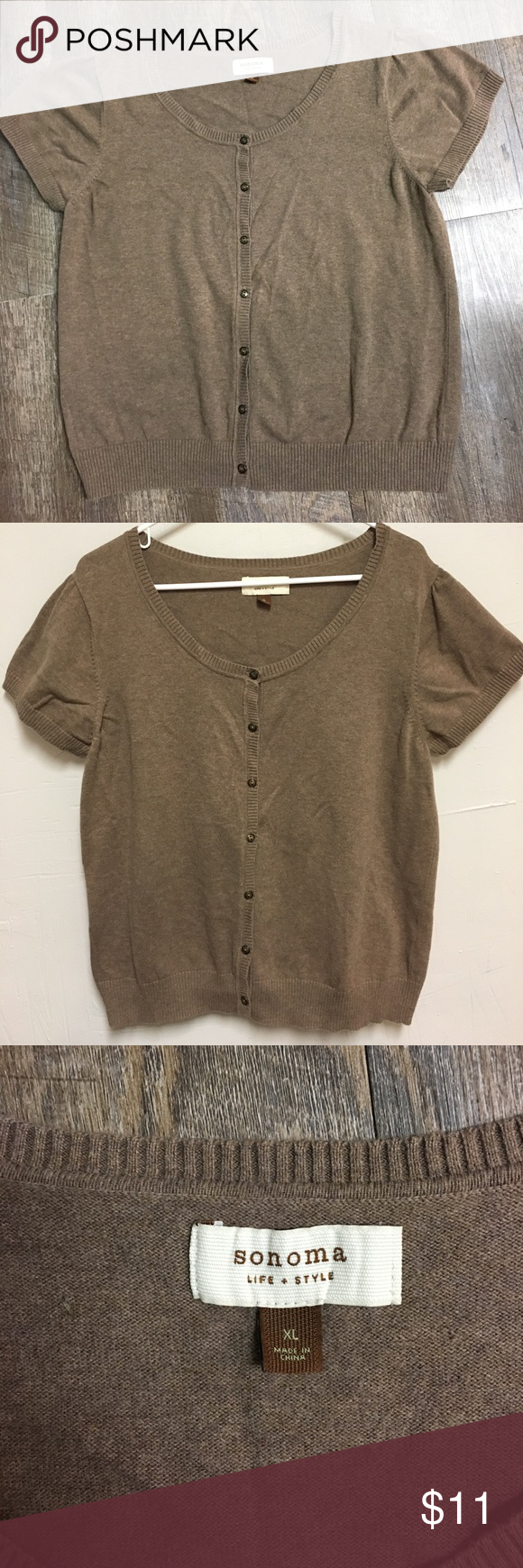 Sonoma brown cardigan | Brown shorts, Short sleeves and Brown