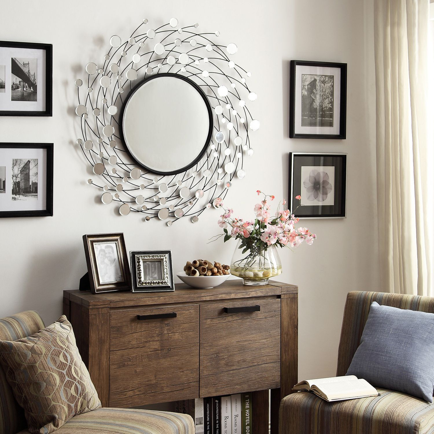 INSPIRE Q Pollock Spinning Nest Silver Finish Accent Wall Mirror by INSPIRE  Q