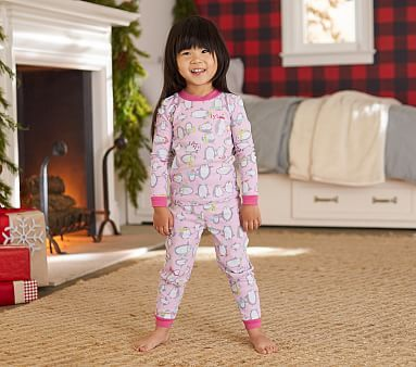 Penguin Tight Fit Pajama, Light Pink, 2T