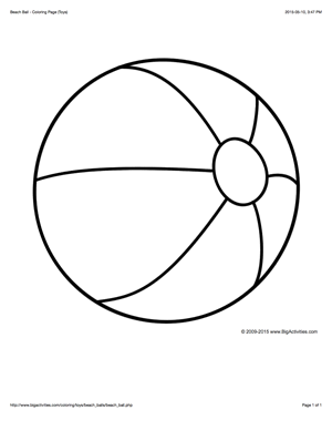 Coloring page with a large beach ball to color | Beach ...