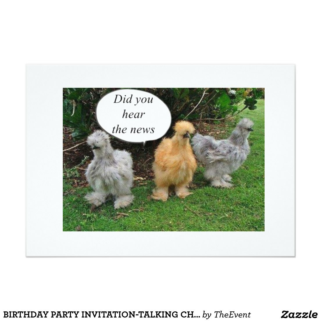 Birthday party invitation talking chickens card chicken parties birthday party invitation talking chickens card kristyandbryce Gallery
