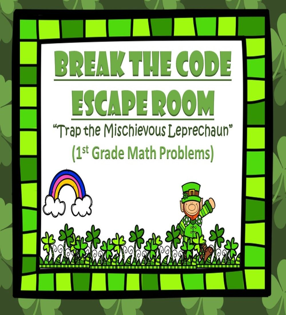 St. Patrick's Day Math Escape Room Game for 1st Grade-$2 ...