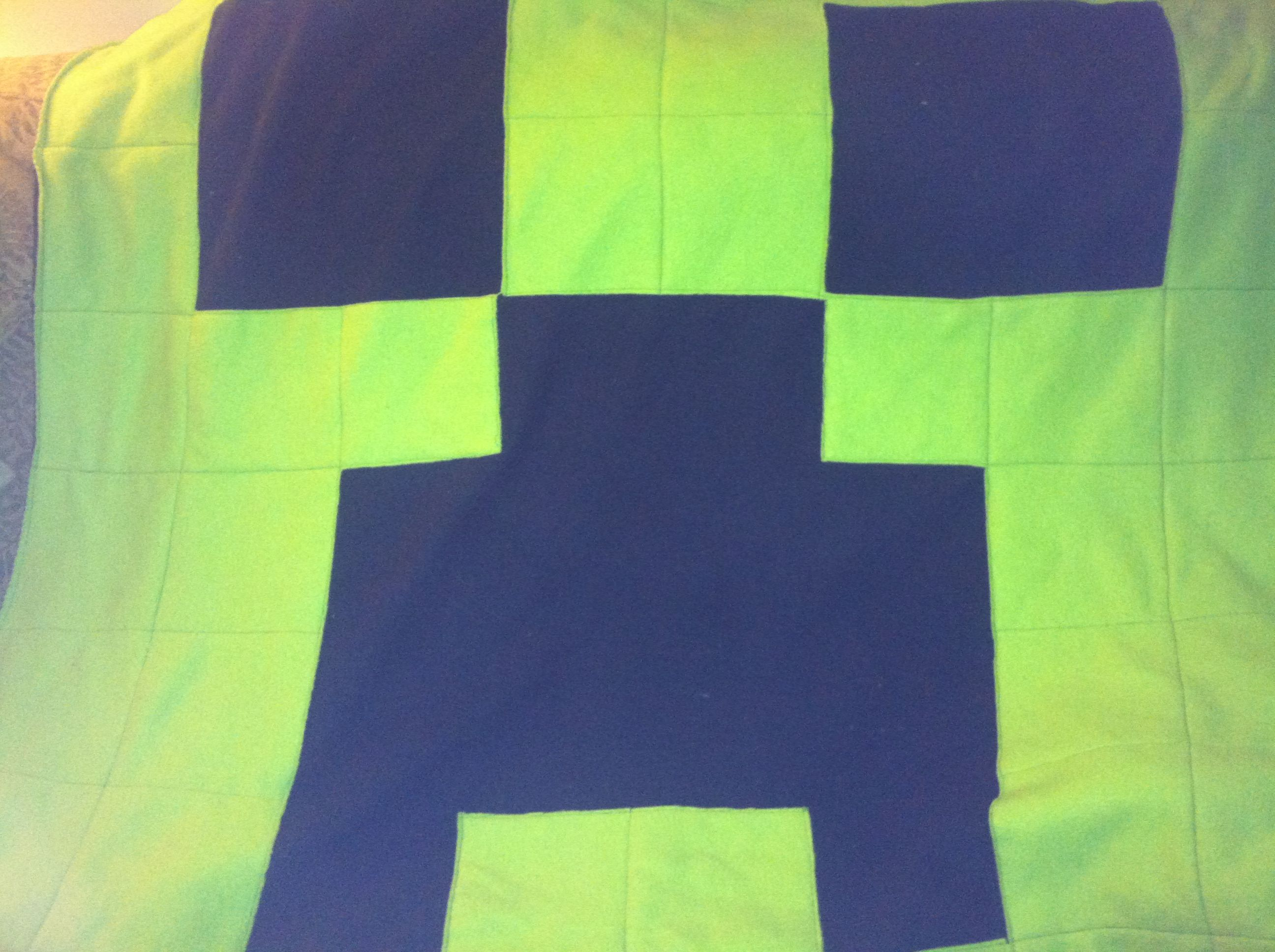 Minecraft Characters Faces Minecraft Creeper Fleece Blanket Black Back With Green