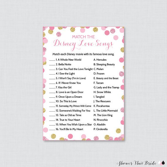 Disney Love Songs Match Game In Pink And Gold Glitter
