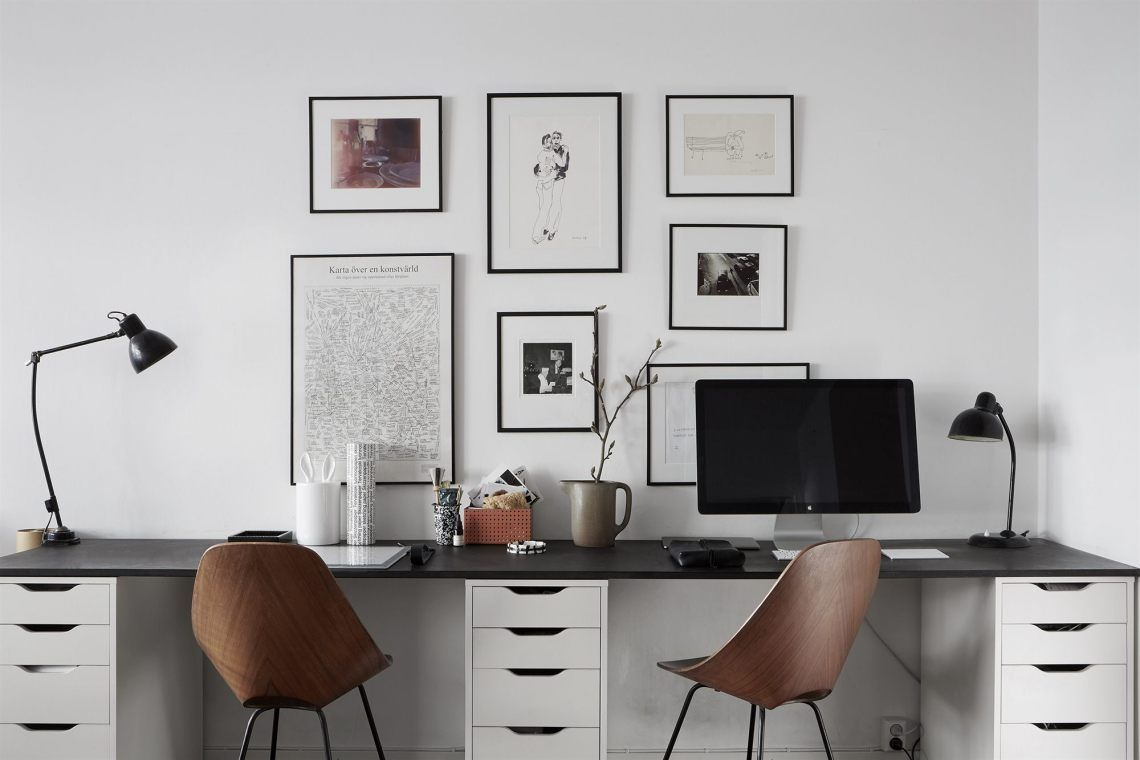 Workspace For Two Via Coco Lapine Design Coco Cool Office Space Ideas Design Lapine Workspace In 2020 Home Office Space Home Office Furniture Home Office Decor