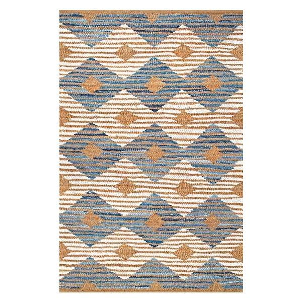 BoardwalkDR02 Hand Braided Denim And Jute Striped Diamonds Rug ($84) via Polyvore featuring home, rugs, diamond rug, jute area rugs, striped jute rug, stripe rugs and braided jute rug
