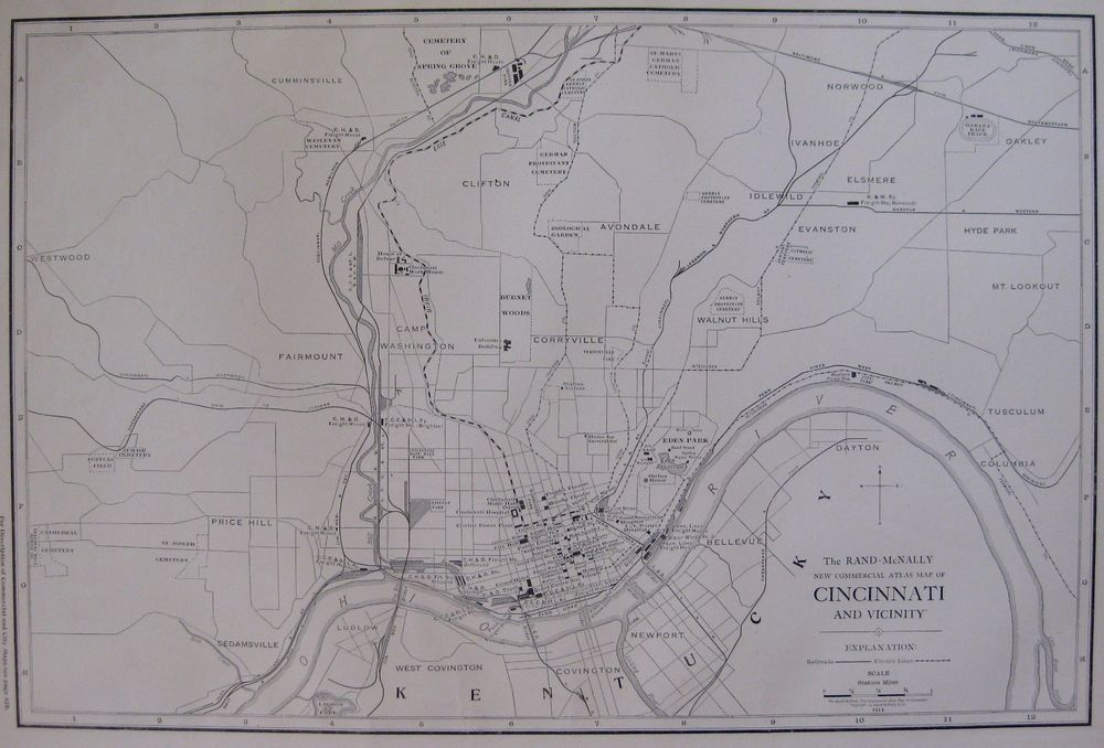 1914 Antique CINCINNATI Ohio Map RARE Poster