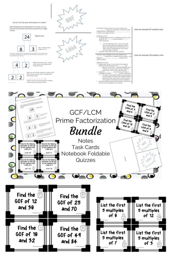 Prime Factorization/GCF/LCM Bundle 6.NS.4