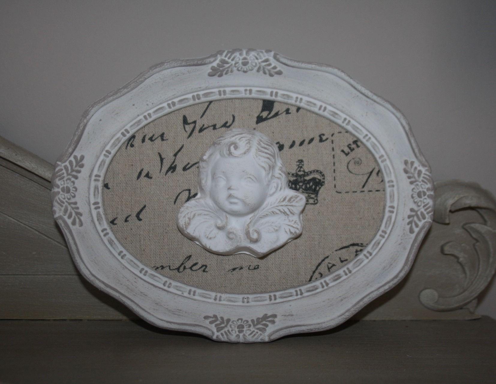 cadre romantique ovale et sa t te d 39 ange d corations murales par la cage a deco d coration. Black Bedroom Furniture Sets. Home Design Ideas