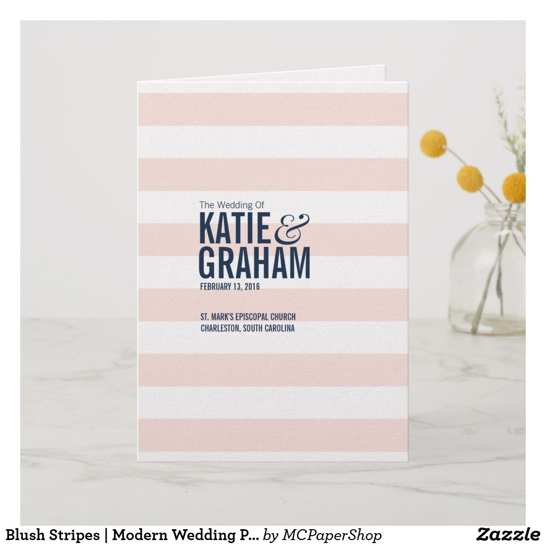 Blush Stripes Modern Wedding Program Zazzle Com Wedding Modern Modern Wedding Program Wedding Programs
