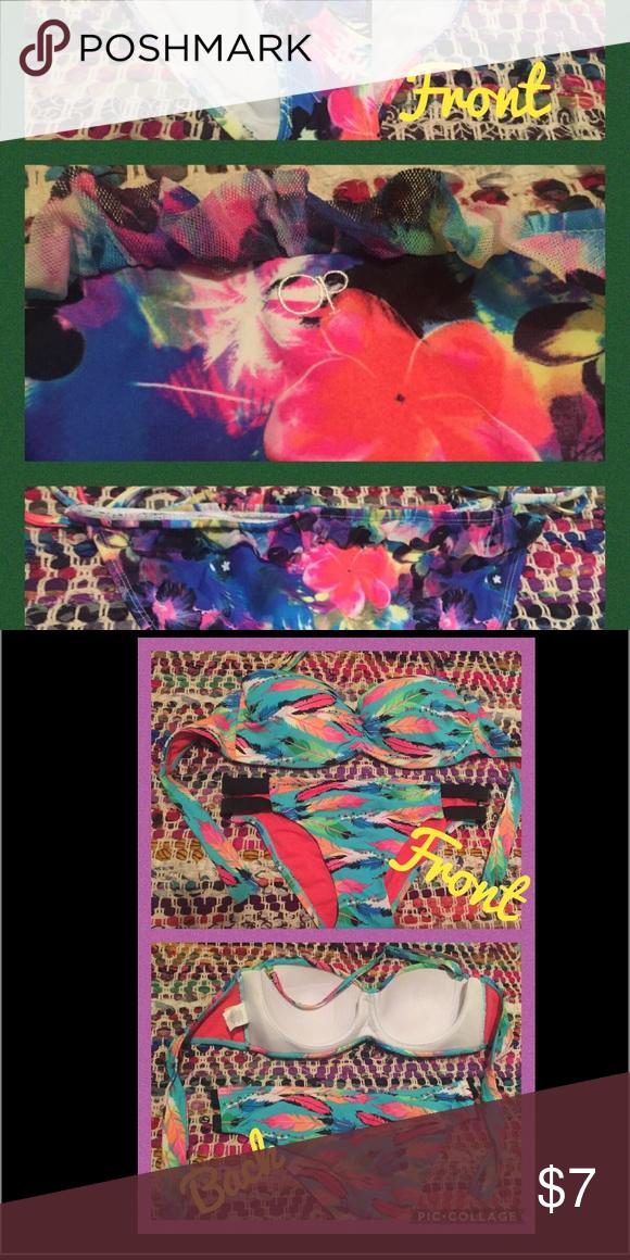 Bikini bottoms tie on the sides Sooo cute (tiny lacy skirt around the top)!! OP bikini bottoms tie on each side. Beautiful summer colors and flower pattern 🌺 Swim Bikinis