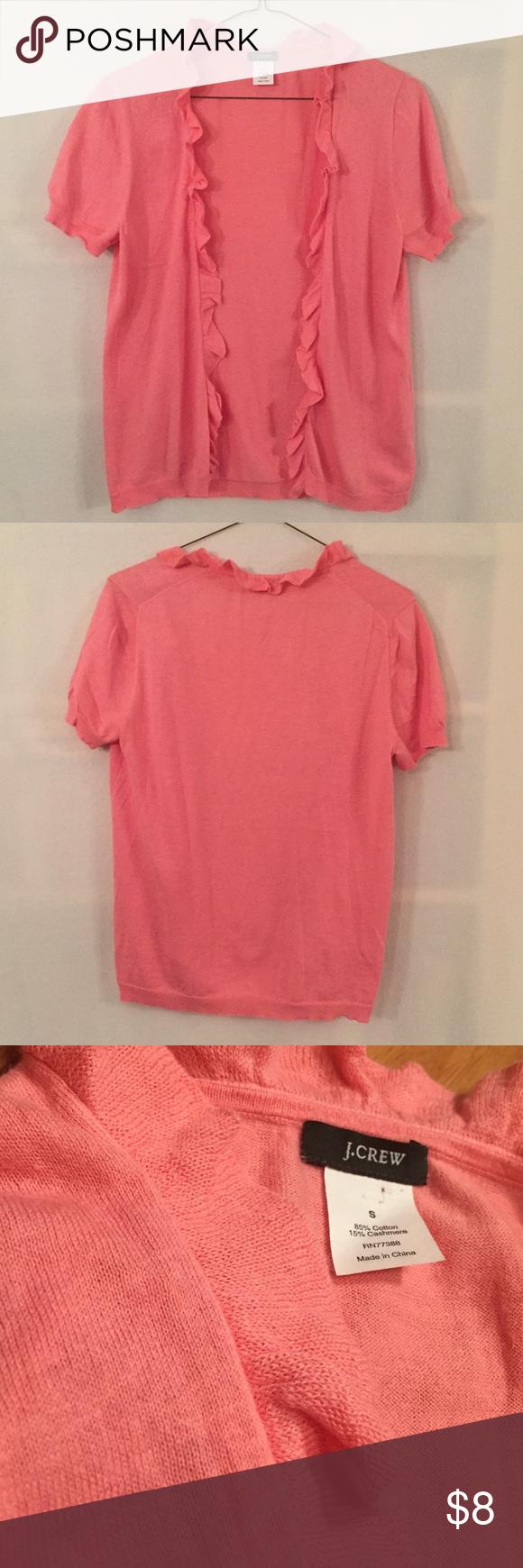 J. Crew pink short sleeve ruffle cardigan