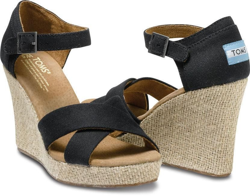 TOMS Black Canvas Strappy Wedges Women