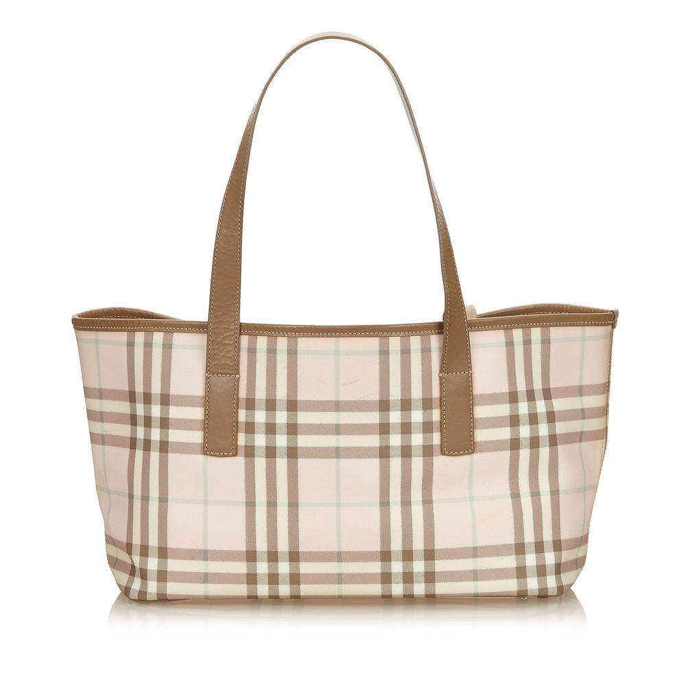 b6ec82fa0105 Authentic Burberry Pink Plaid Jacquard Tote Bag United Kingdom  fashion   clothing  shoes