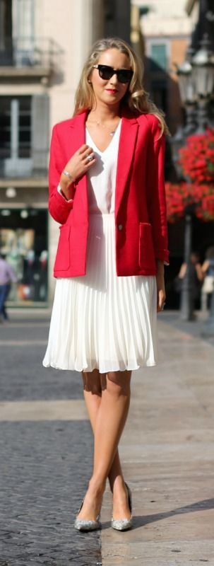 white pleated chiffon skirt, white silk textured v-neck shell, snakeskin pointed toe pumps + red blazer