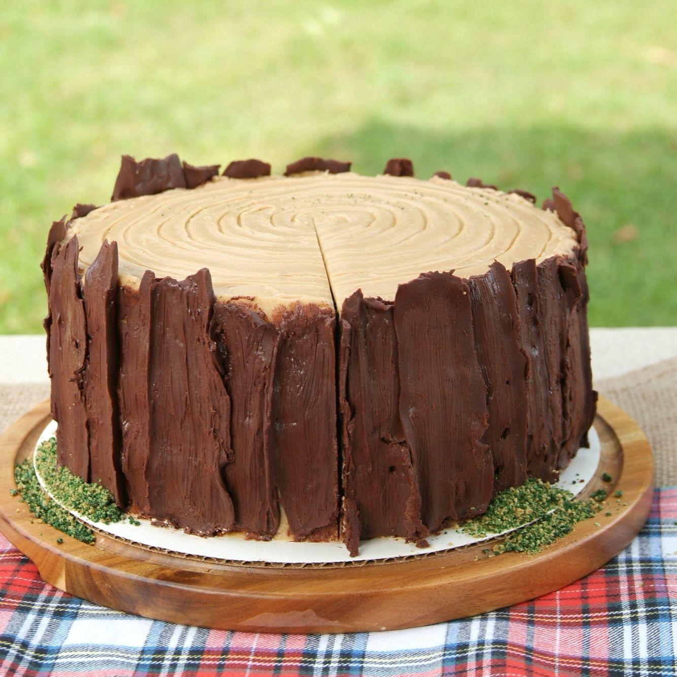 Rorys 1st Birthday Tree Stump Cake Chocolate Caramel Frostingchocolate Bark