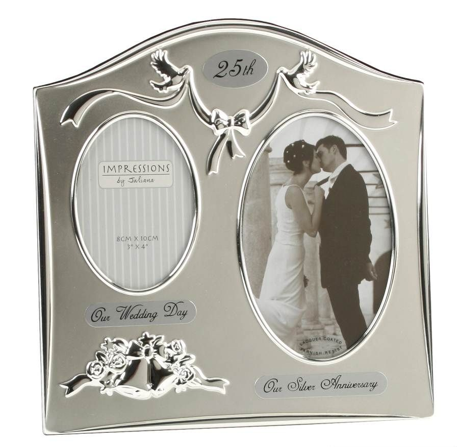 25th wedding anniversary Diamond Anniversary Picture Frame Diamond Wedding Anniversary Silver