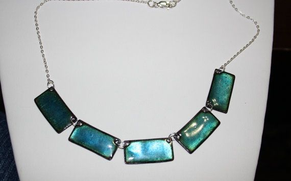 Lustrous teal blue enameled necklace.  The copper by KineticArts, $50.00