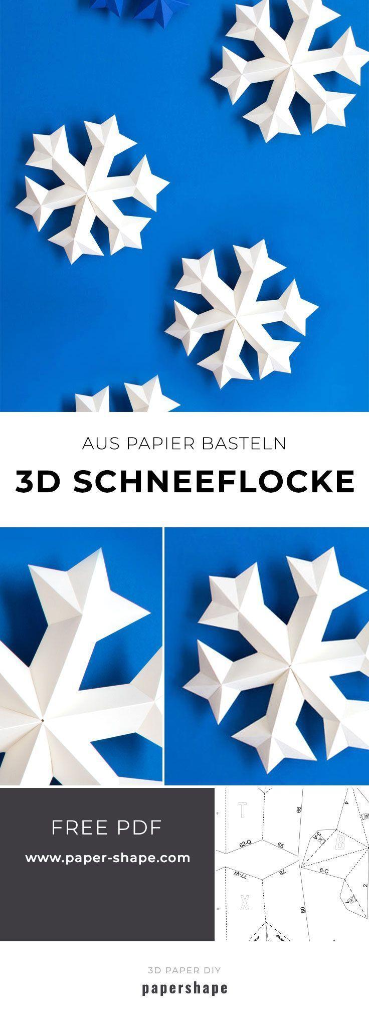 3D Schneeflocke mit Papier basteln (kostenlose Vorlage)