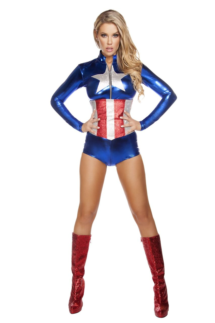 sexy roma blue silver red captain america comic book superhero hero all american temptress party halloween - Heroes Halloween Costumes