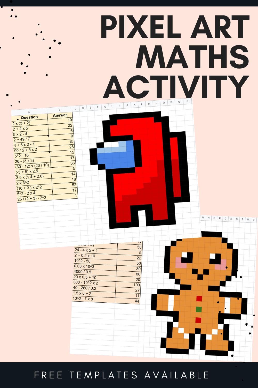 Pixel Art Maths Activity Among Us Xmas Templates Math Activities Math Template Teaching Mathematics [ 1500 x 1000 Pixel ]
