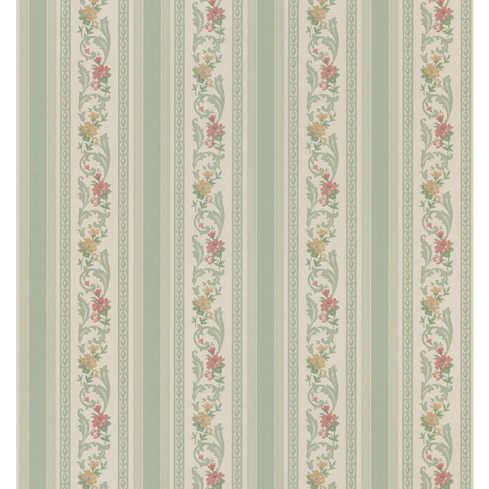 Brewster Cameo Rose Iv Green Pomander Floral Stripe Wallpaper