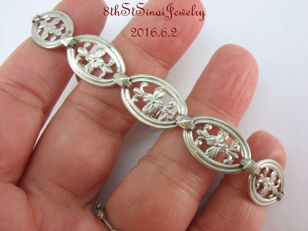 """Estate wRe WE Richards Sterling Silver 925 Floral Link Bracelet 7"""" Long #WERichards #Link"""