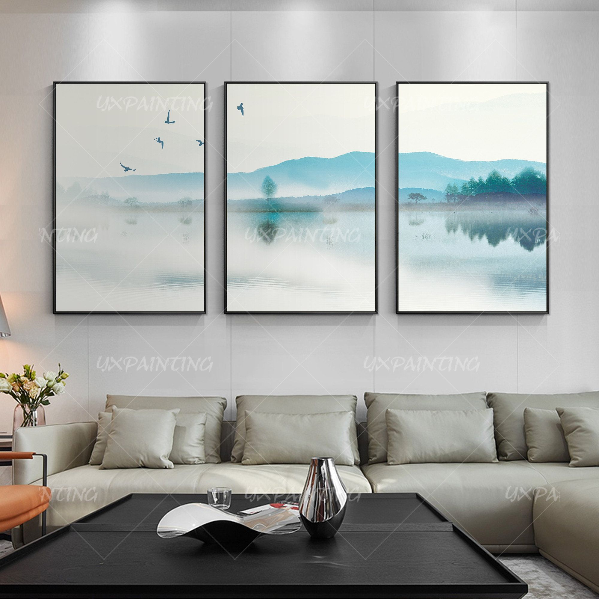 Water Color Painting Mountains Set Of 3 Framed Wall Art Lake Etsy Horizontal Wall Art Mountain Paintings Elegant Wall Art