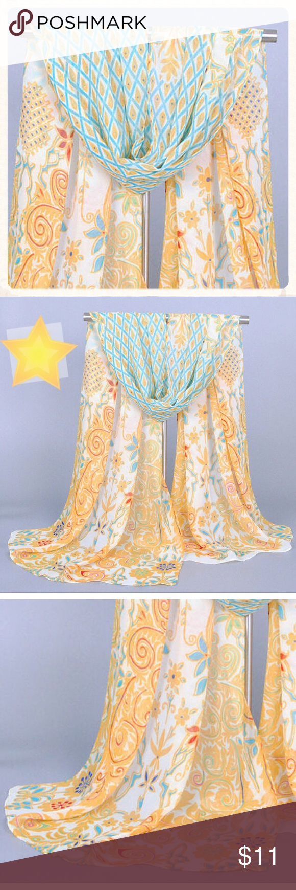 SalePretty chiffon summer scarf New! Pretty chiffon summer scarf. Has a stylized peacock pattern with floral and geometric shapes. Is about 5 feet long and 1.5 feet wide. Soft chiffon summer weight fabric. Very pretty!  New in packaging. Very well made. Color is accurate, but probably 1 shade darker. Fashion Scarf Accessories Scarves & Wraps