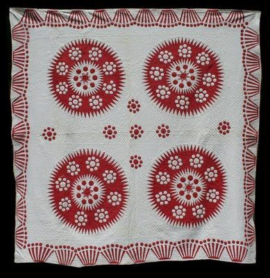Antique red and white quilt