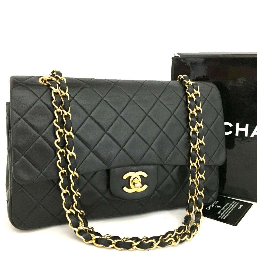 26acd63f65e5 CHANEL Double Flap 25 Quilted CC Logo Lambskin w Chain Shoulder Bag Black  k362