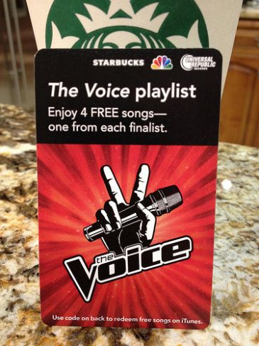Starbucks & The Voice.  These two paired up to offer another product that has both of their brand images associated with it.