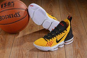 promo code ad4e9 2dd1e Mens Nike LeBron 16 Yellow White Black Basketball Shoes