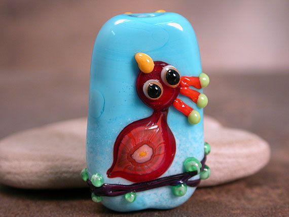 Lampwork Glass Focal Bead Folk Art Bird by DivineSparkDesigns, $42.00