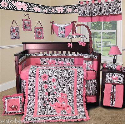 Baby Boutique - Pink Zebra 13 PCS Crib Girl Nursery Bedding Set