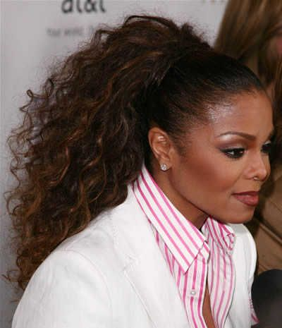 Curly High Ponytail | Janet Jackson's curly ponytail hairstyle at the 19th Annual GLAAD ...