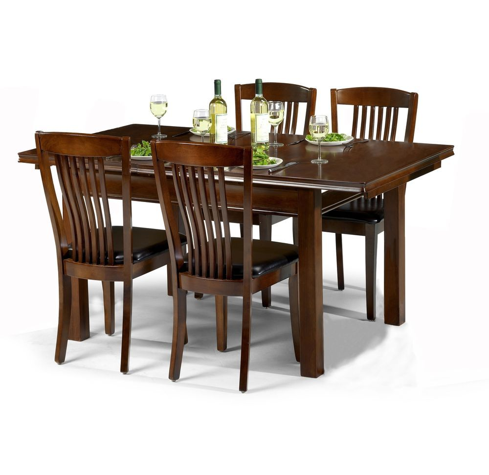 4 Seater Dining Set Rectangle Table Black Leather Seat Mahogany