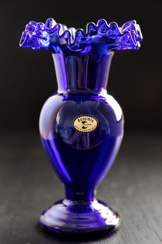 Cobalt Blue Vase Bohemia Crystal By Yellowfox On Etsy