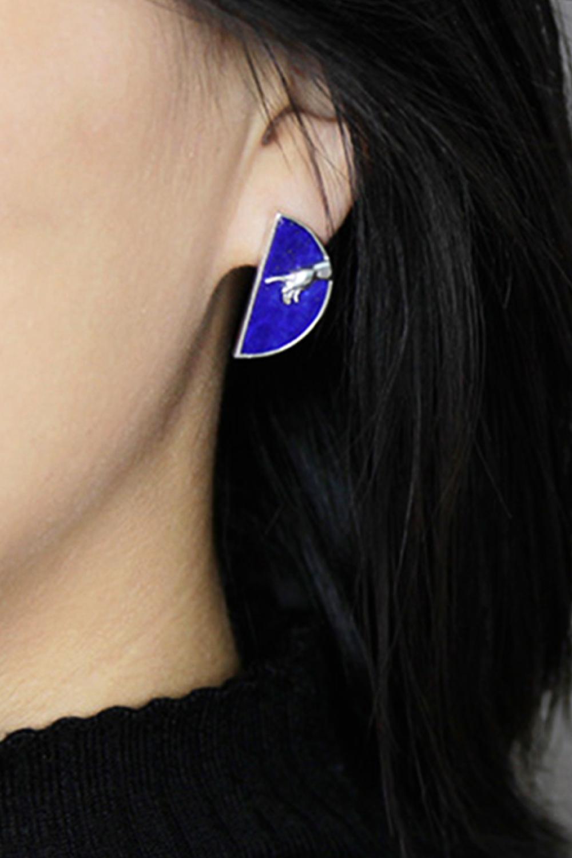 Handmade 925 Sterling Silver Earrings Lapis Lazuli Earrings Blue Stone Earrings Silver Handmade Earrings Hand Of God Cameo Earrings In 2020