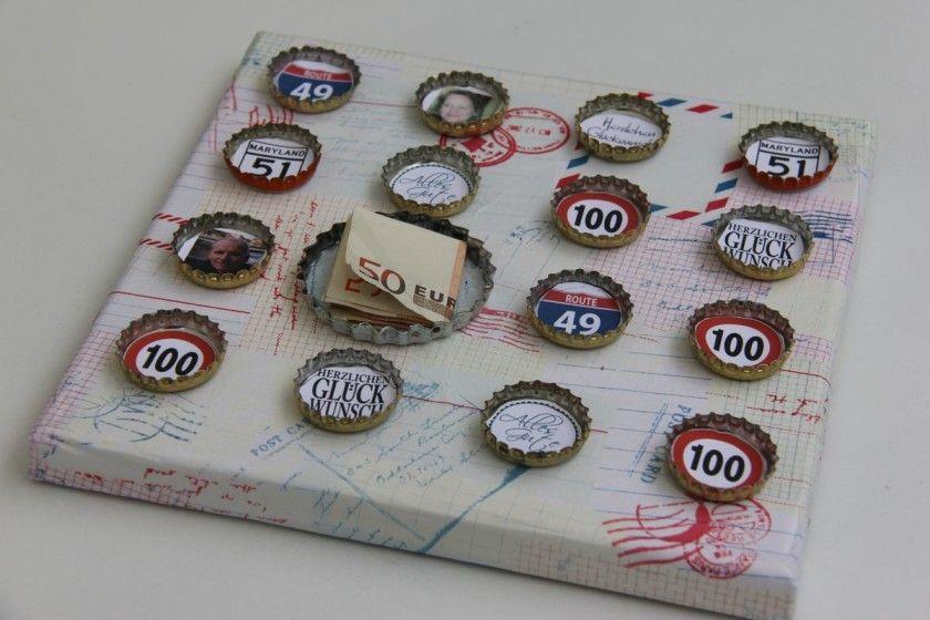 Basteln mit kronkorken geldgeschenk zum 50 geburtstag geldgeschenke pinterest geschenke - Geschenke zum 18 geburtstag selber machen ...