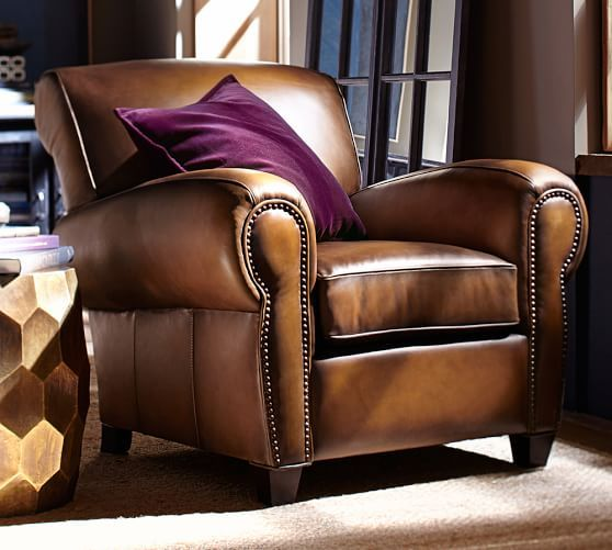 Manhattan Leather Armchair With Nailheads Pottery Barn In Saddle Chocolate Burnished Walnut Ottoman