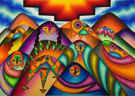 Una obra del artista boliviano Roberto Mamani Mamani  arte