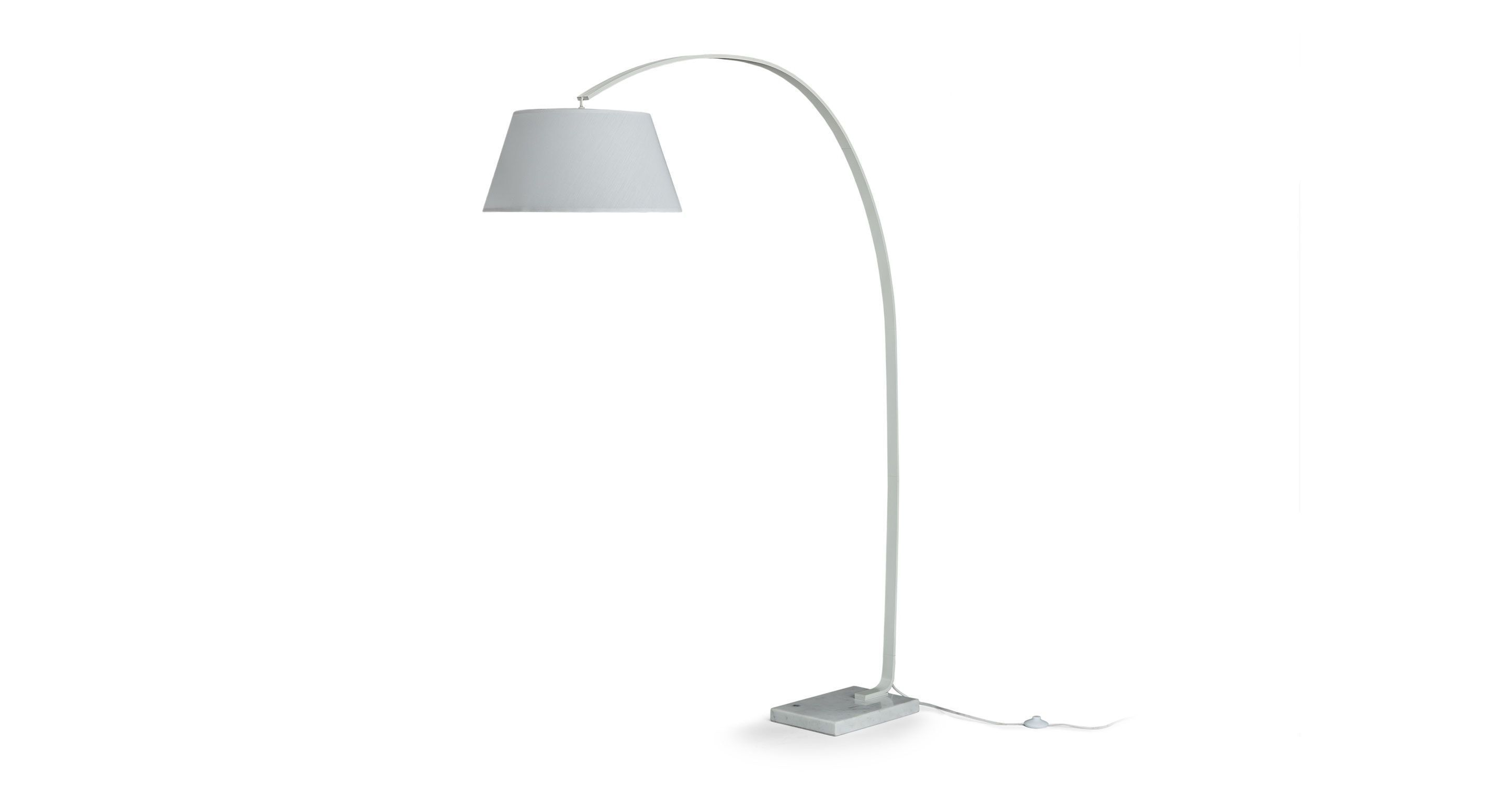 White floor lamp with marble base article willo contemporary
