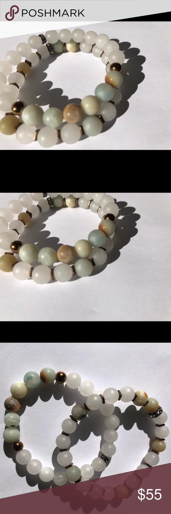 "Handmade White Jade Stone Beaded Energy Fashion Jewelry Bracelet 7.5/"" Gift Box"