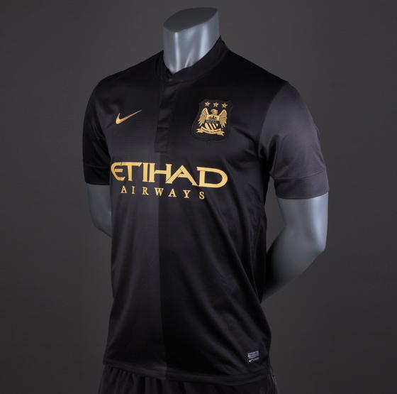2a615f81f3a53 Nike Man City Away 13/14 Replica SS Shirt - Black/Grey/Gold #pdsmostwanted