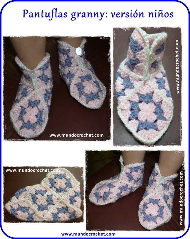 Patron pantuflas o zapatos a crochet o ganchillo de cuadrados granny ...