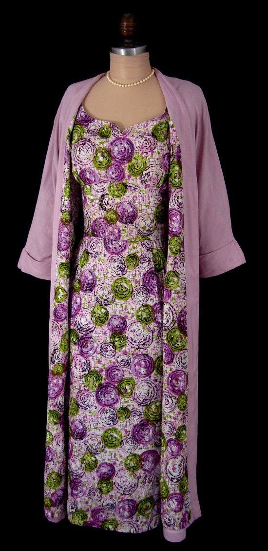 Vintage 1950\'s 50s Pink Abstract Floral Cotton Hourglass Cocktail ...